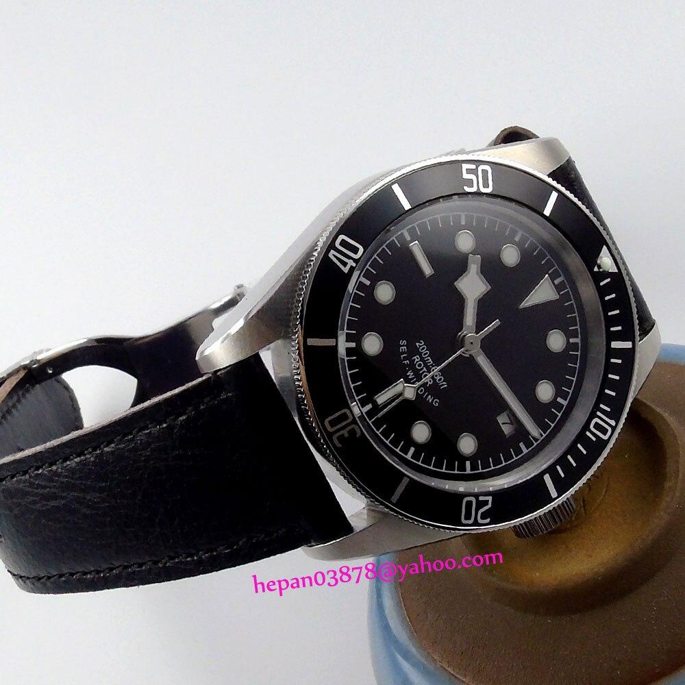 41mm Corgeut watch black sterile dial silver rim hands black insert Bezel sapphire glass MIYOTA Automatic Men's watch P177 polisehd 41mm corgeut black dial sapphire glass miyota automatic mens watch c102