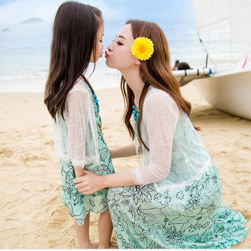 summer dress 2016 mother and daughter clothes family look sleeveless green chiffon dress white lace shirt