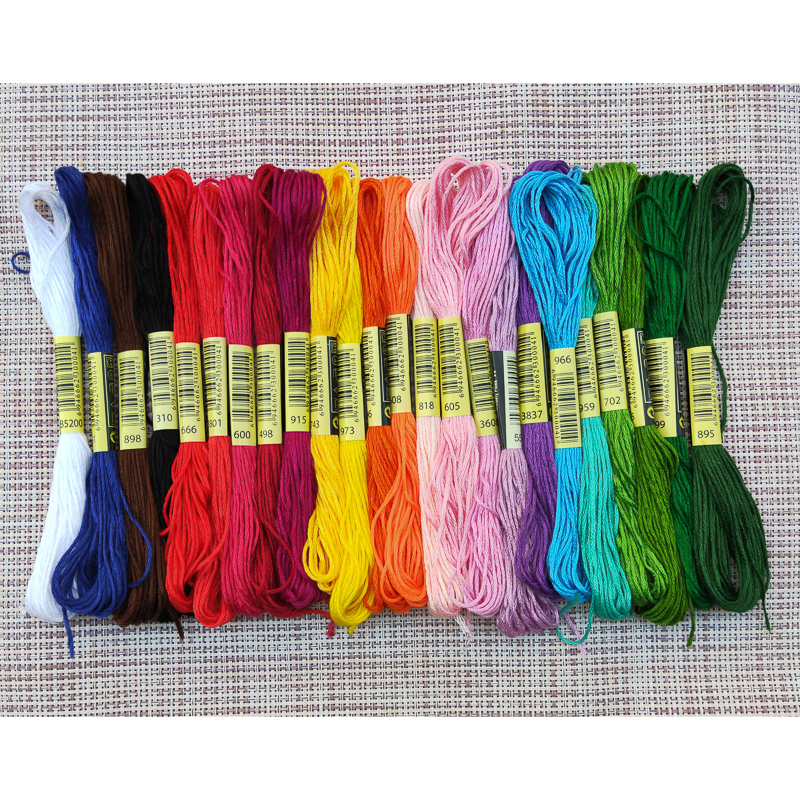 50pcs Cross Stitch Floss Cotton Thread Embroidery Skein Colors Set As in Picture