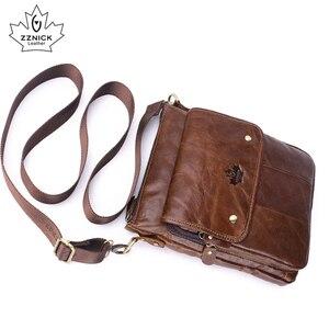Image 4 - mens genuine leather shoulder bag Messenger Bag Flap ipad men bag style bag Solid male Business 2018 new ZZNICK