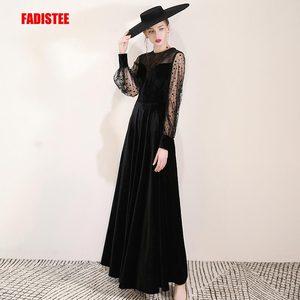 Image 1 - FADISTEE Mới đến buổi tối thanh lịch prom dresses Vestido de Festa Áo Choàng Áo Choàng De Dạ Hội velour ren phun đầy tay áo váy