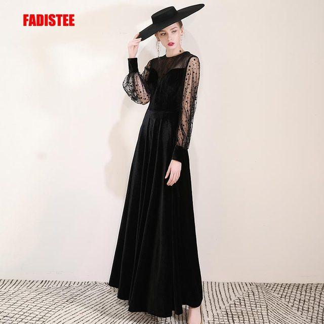 FADISTEE Mới đến buổi tối thanh lịch prom dresses Vestido de Festa Áo Choàng Áo Choàng De Dạ Hội velour ren phun đầy tay áo váy