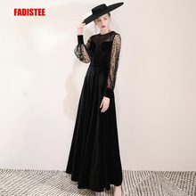 FADISTEE New arrival evening elegant prom dresses Vestido de Festa gown Robe De Soiree velour lace puff full sleeves dresses
