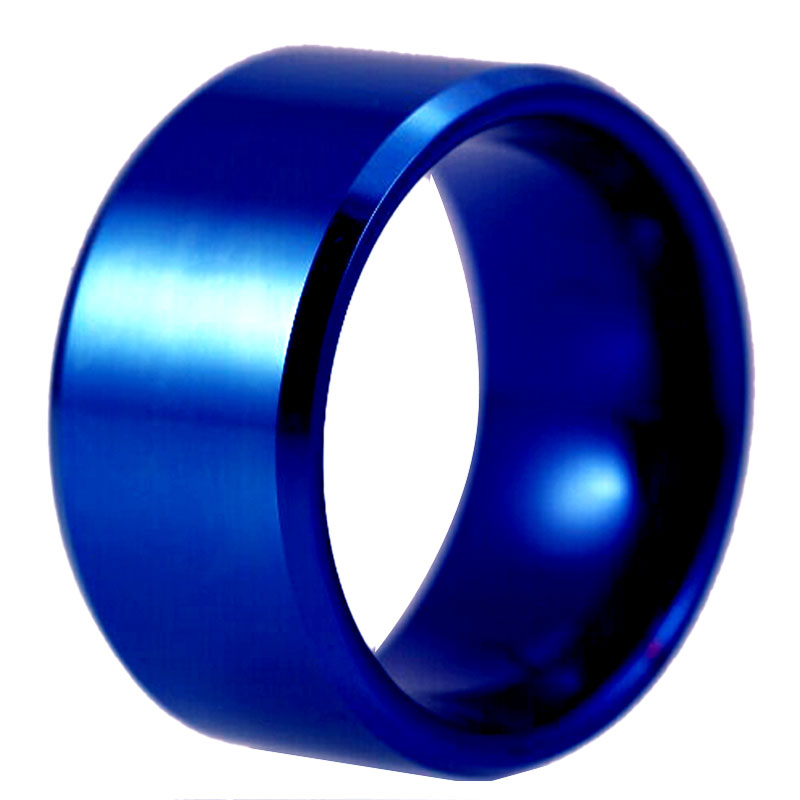 Bebas Biaya USA UK Canada Rusia Brasil Hot Penjualan 12 MM Warna Biru Bevel Comfort pria Mode Tungsten Wedding Ring