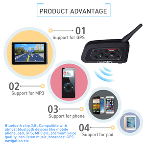 Image 2 - Fodsports 1 pcs V6 Pro 1200M intercomunicador BT Interphone Wireless Motorcycle Helmet Bluetooth Headset Intercom for 6 Rider