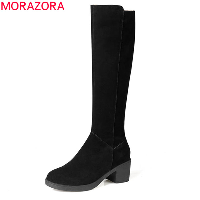 MORAZORA 2018 top quality cow suede autumn winter boots zipper round toe knee high boots short plush fashion square heels shoes morazora new china s style knee high boots flowers embroidery spring autumn boots for women zipper cow suede med heels boots