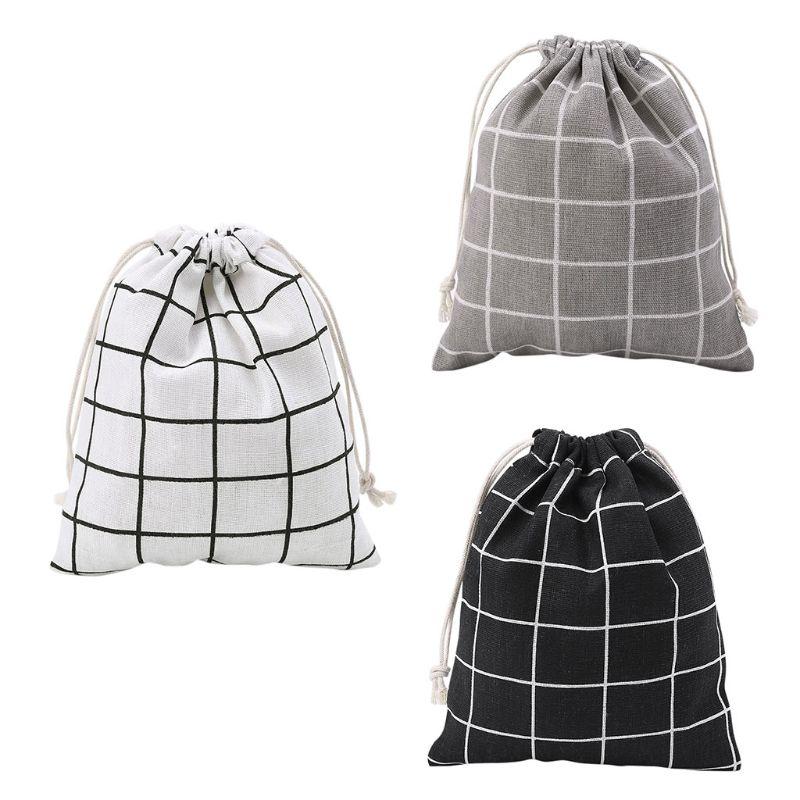 S M L Cotton Linen Bag Plaid Printing Women Makeup Case Drawstring Pouch Fashion Toiletry Bags