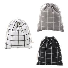 S/M/L Cotton Linen Bag Plaid Printing Women Makeup Case Drawstring Pouch Fashion Toiletry Bags