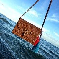 Bali Bohemia Beach Circle Bag Island Hand Woven Bag Square Butterfly Buckle Rattan Straw Bags Satchel