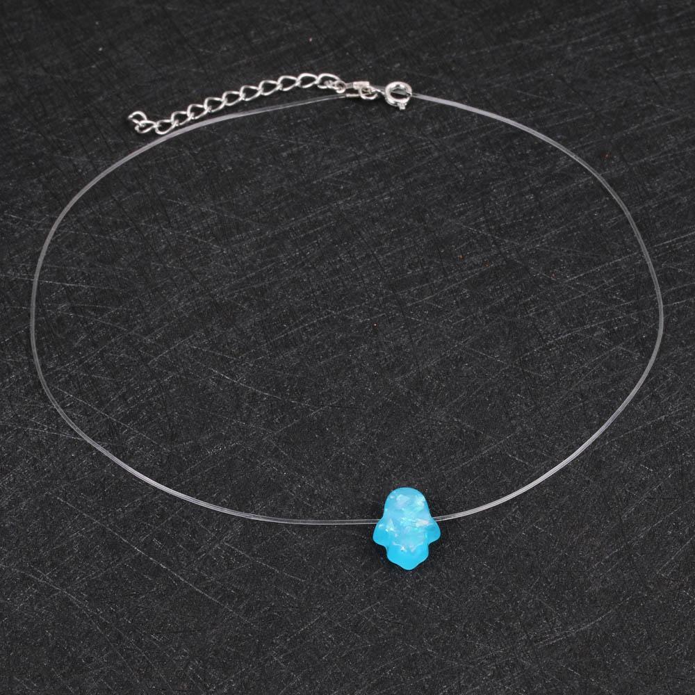 7828e592f6bb Azul blanco Opal Hamsa collar mano Fátima colgante collar cadena ...