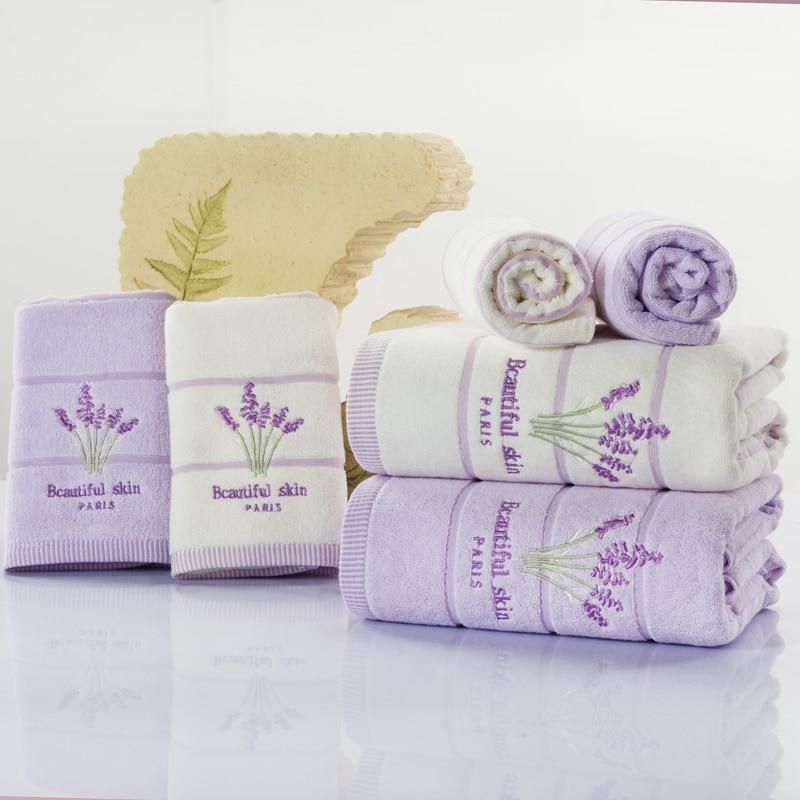 Lavender Patterned 3 Pcs Hotel Travel Beach Bath Towel Set For Adults Bathroom High Quality Bath
