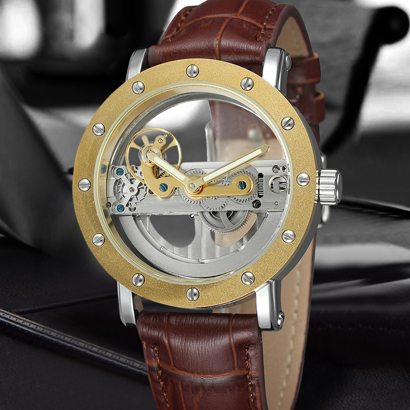 FORSINING Brand Trendy Automatic Mechanical Watches Men Skeleton Dial Stylish Dress Wristwatches with Leather Band forsining fashion brand men simple casual automatic mechanical watches mens leather band creative wristwatches relogio masculino