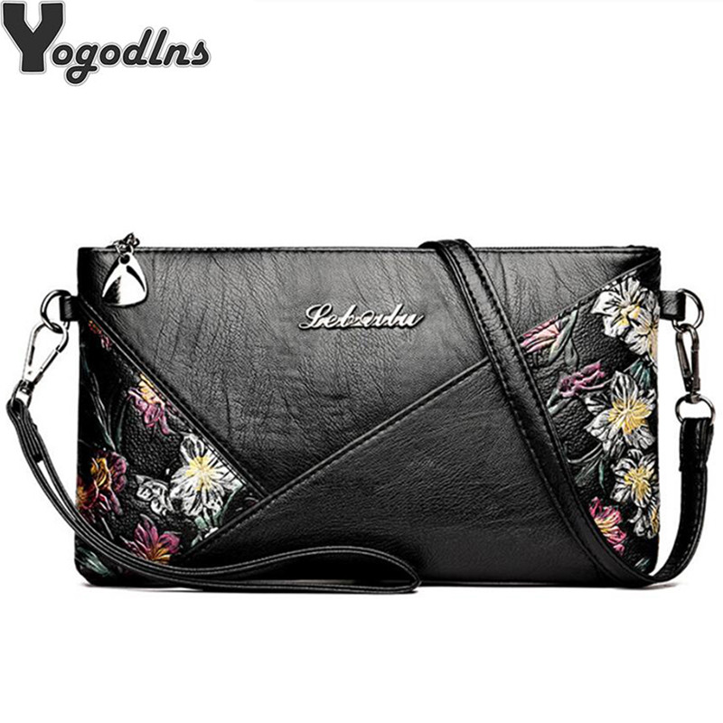 Women Luxury Designer Flower Printing Bag PU Leather Purse Black Shoulder Bag Mini Crossbody Handbag Ladies Clutch Bag