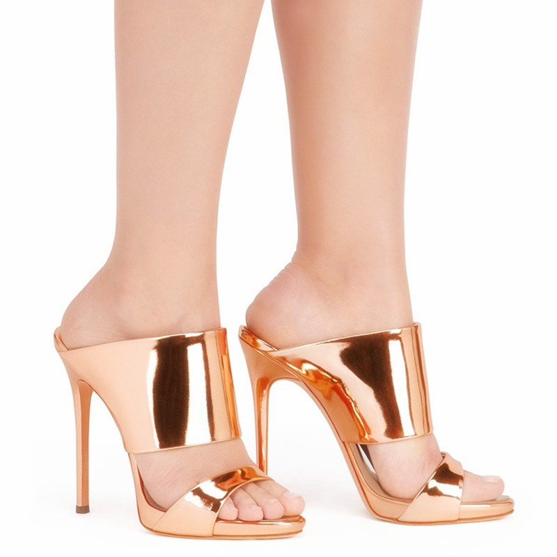 2017 Gold Silver New Sexy Women Slippers High Heels Open Toe Female Shoes Thin Heel Casual Daily Party Summer Sandals for Women new ankle strap open toe high heels sexy ladies shoe women summer gold silver black sequins leather sexy sandals shoes smybk 022