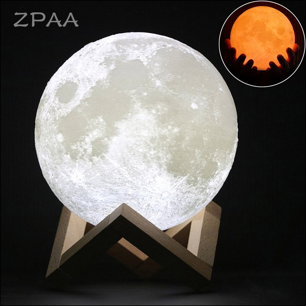 10/20CM 3D Printed Moon Lamp LED Baby Night Light Table Desk Lamp USB Charging Wooden Base Touch Lunar Lamp for Bedroom Birthday birthday gift wooden crescent moon picture creative decoration led night light bedroom lamp table light night lamp