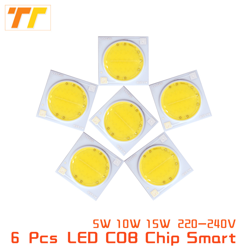 6 Pcs lot Smart IC LED COB Chip AC 220V 230V 5W 10W 15W led COB Smart IC Driver Fit For DIY LED Spotlight Flood Cold Warm White high power led matrix for projectors 15w 25w 35w 50w diy flood light cob smart ic driver led diode spotlight outdoor chip lamp