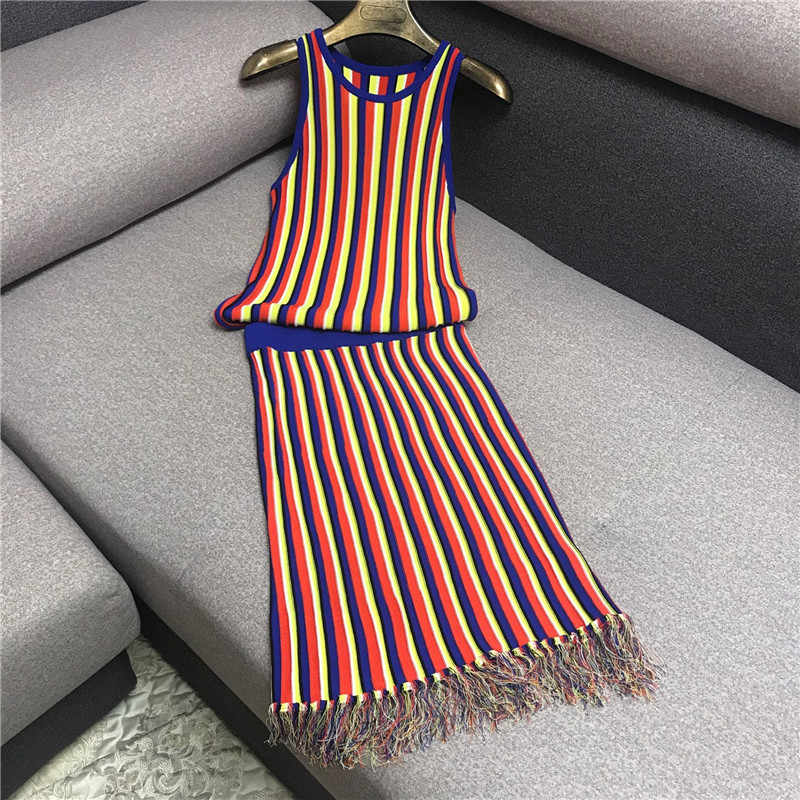 Luxury Designer Brand Women's Knitted Sets for Women Colorful Vertical Striped Knitted Vest Top and tassel Knitted Skirt Set