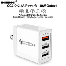 Egeedigi 30W 3 Ports QC 3.0 EU/US/UK Plug Fast Charging Universal Portable Travel Wall Charger Power Adapter For Xiaomi Huawei