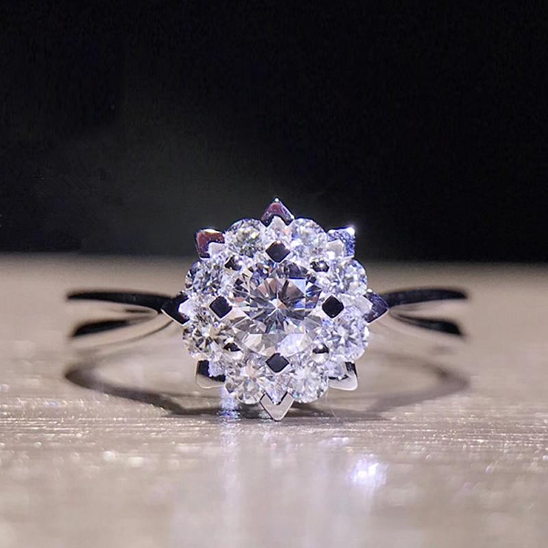 EDI Diamond Halo Engagement Ring Classic Snowflake 18k White Gold 0.42CTTW Real Natural Diamond Wedding Ring For Women