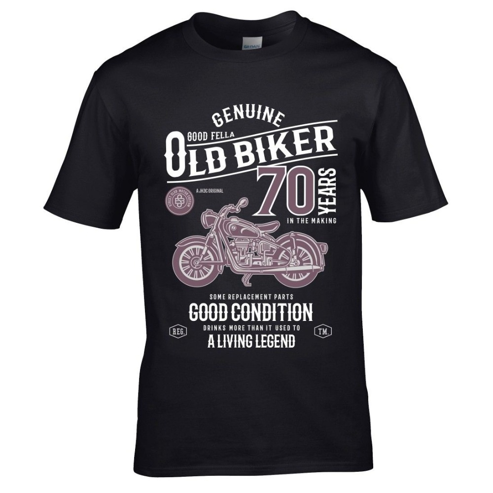Funny <font><b>70</b></font> Year Old Biker Vintage Motorcycle Mens Top 70Th <font><b>Birthday</b></font> Gift Fashion 3D Letters Print Fashion Cotton Printed <font><b>Shirts</b></font> image