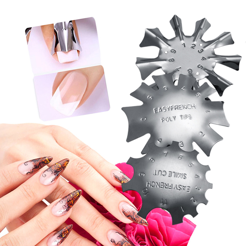 ELECOOL 3pcs Easy French Line Edge Cutter Stencil Trimmer Tips Design Mold Plate Manicure Stainless Steel Nail Art Styling Tool