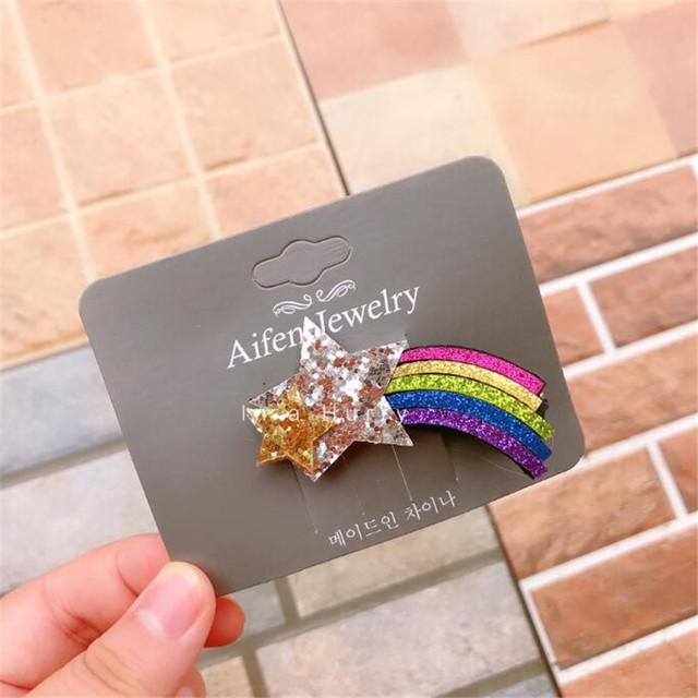 Rainbow Owl Hair Accessories Unicorn Glitter Hair Clips for Girls Fashion Kids Star Hairpins Barrettes Cartoon Hairgrip