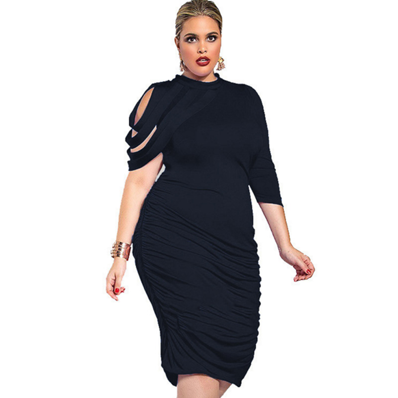 2018 New Designer autumn Women Plus Size <font><b>dresses</b></font> One-Shoulder <font><b>5XL</b></font> <font><b>Sexy</b></font> <font><b>club</b></font> robe femme tunic black <font><b>Dress</b></font> Party vestidos de festa image