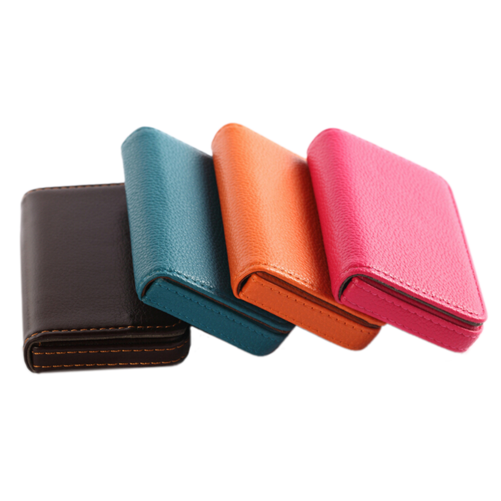 1Pcs Pocket PU Leather Business ID Credit Card Holder Case Wallet Office School Supplies Creative New Year Gift 96*65*15mm