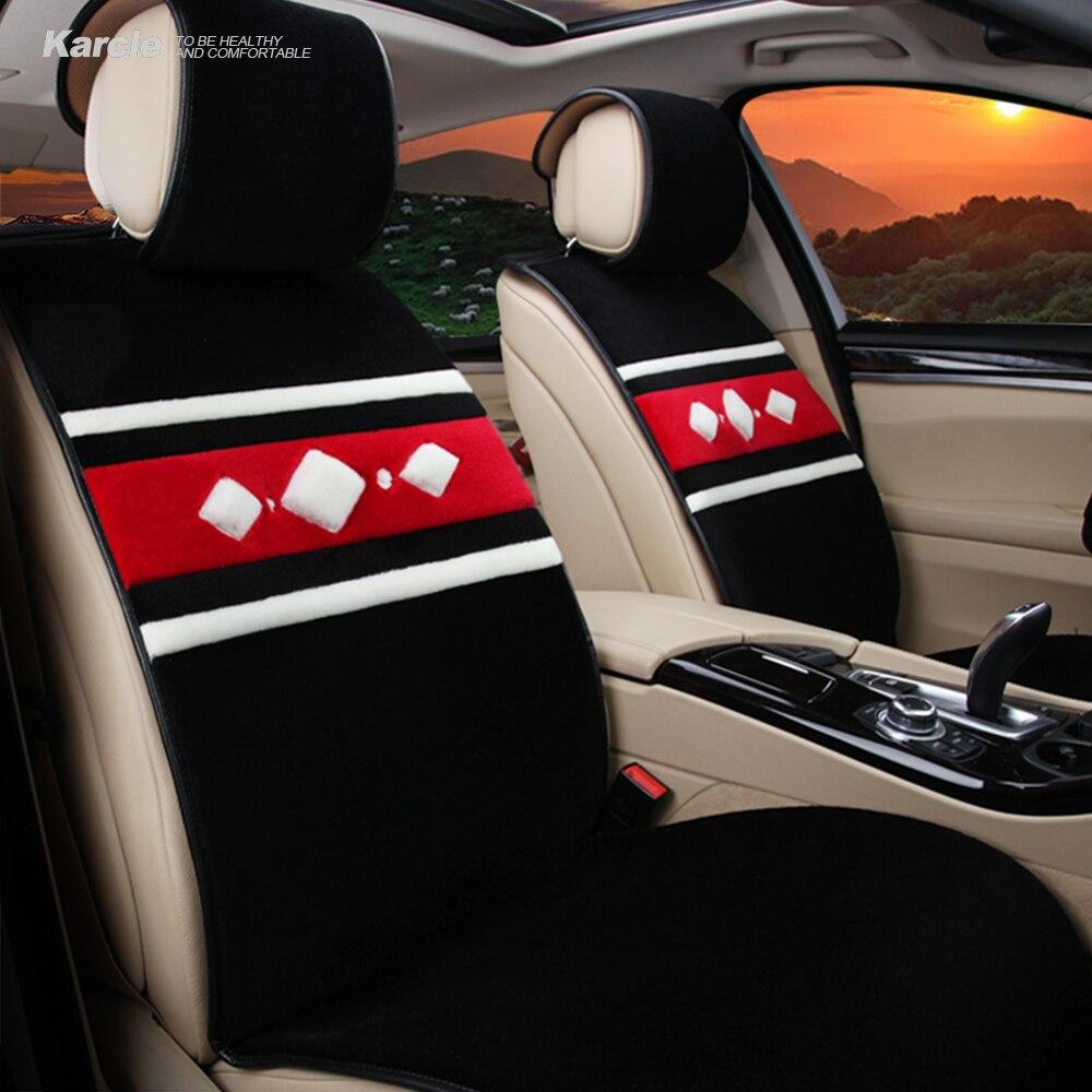 Karcle Sheepskin fur Car Seat Covers Set Kits Universal 3PCS Wool Seat Protector Anti-skid Auto Cushion Car Styling Accessories