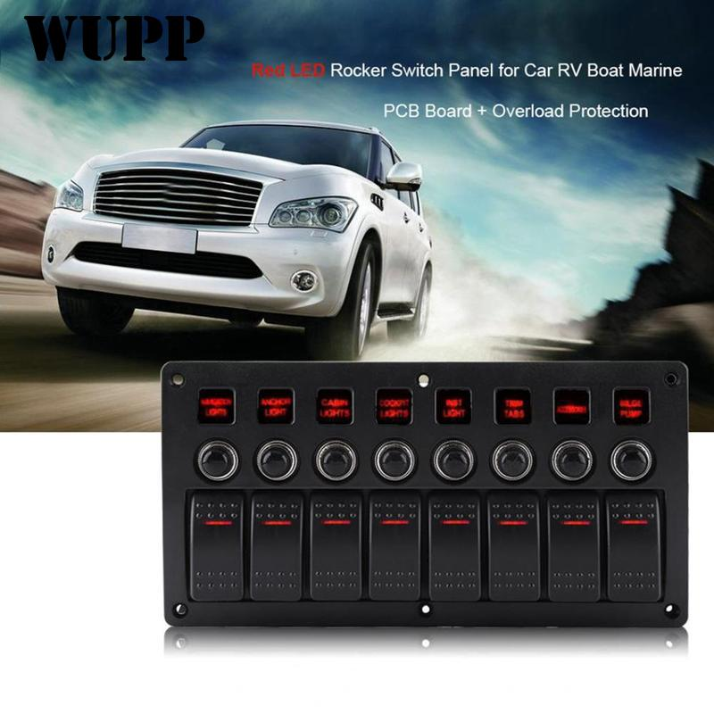 WUPP 8 Gang Switch Panel Car Styling Waterproof 12V Car Auto Boat Marine Red Rocker Switch Panel Circuit Breakers QDZ0561 zero 8 gang waterproof car auto boat marine led rocker switch panel circuit breakers
