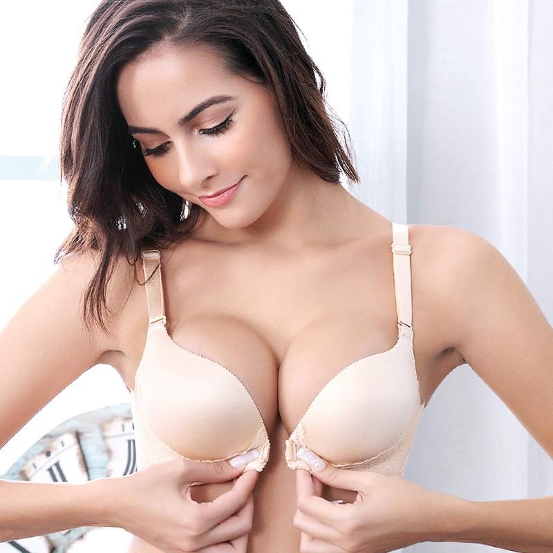 luxury women push up bra wireless strappy bra sexy lace adjusted-straps 3/4 cup deep plunge nursing seamless bra for women 2017