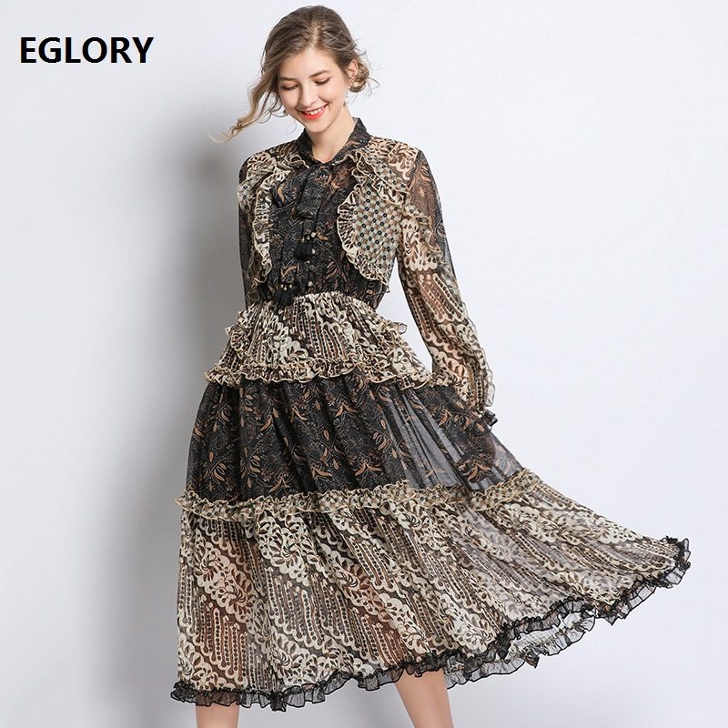Top Quality Dress 2019 Spring Summer Fashion Party Sexy Dress Women Bow Collar Vintage Print Long Sleeve Casual Beach Dress Boho