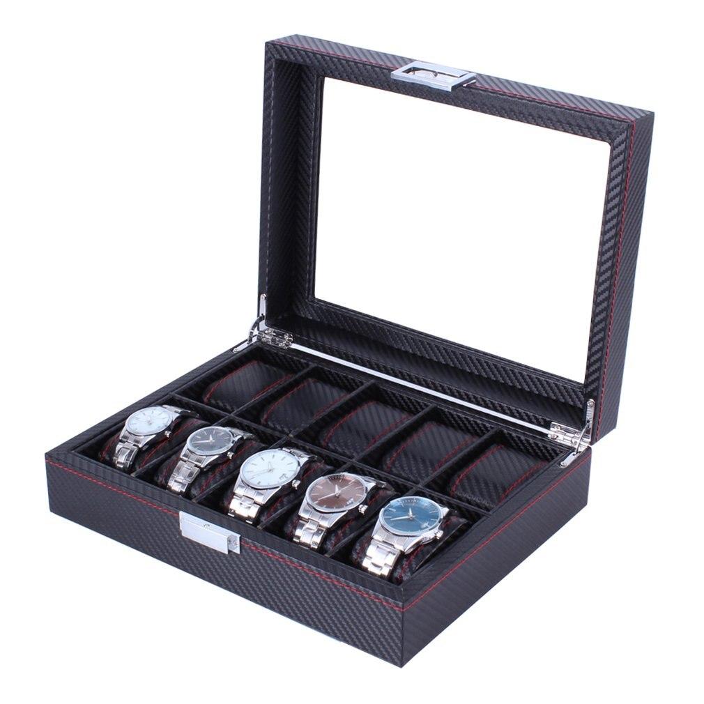 10 grilles en fiber de carbone modèle montre boîte montre bijoux affichage porte-boîte de rangement Rectangle noir boîtier Bracelet bijoux organisateur