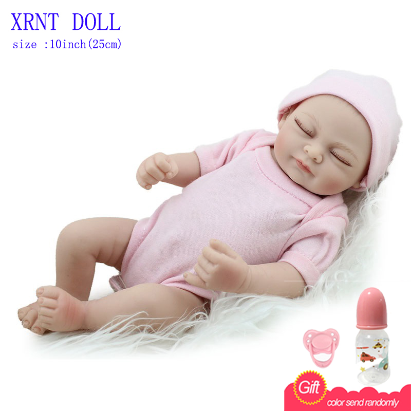 "10/"" girl all vinyl newborn baby simulation baby doll toy reborn doll baby"