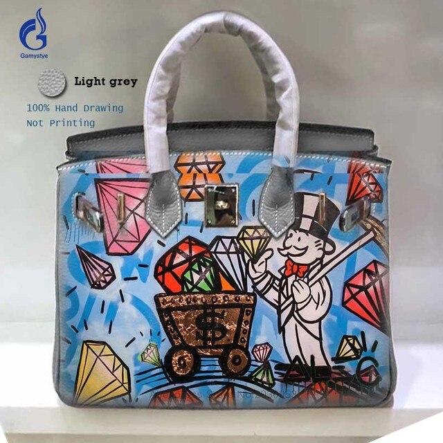 f03e189e8d Genuine Leather bags handbags women High Quality Togo Leather Shoulder  Messenger Bags Art Graffiti Alec Diamond Rich Hobo bag