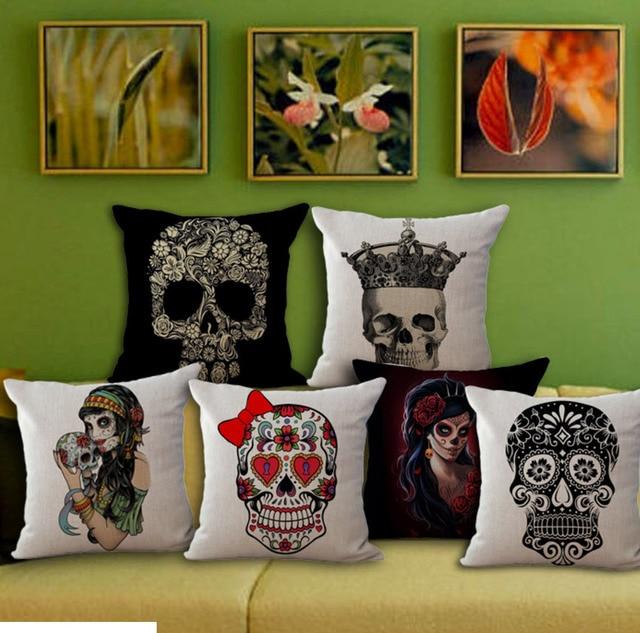 Pop Art Cartoon Skull Emoji Throw Pillow Decorative Mager Vintage Pillows Cover Linen Diy Home Decor