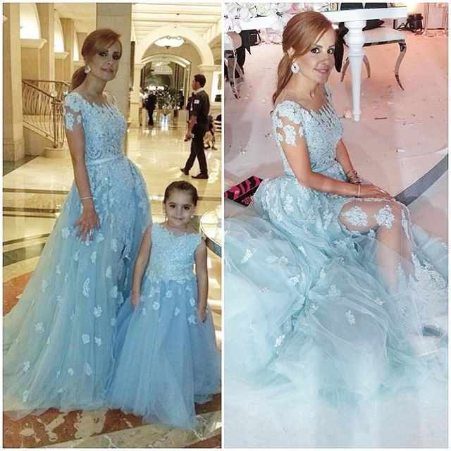 robe de soiree light blue two piece Mother of the Bride Dresses 2019 lace beaded Mom and daughter formal gown for prom party
