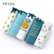 TWTZQ 5Pcs/Lot Hot Sell Cotton Pineapple Flower Printing Panties Women Underwear Briefs Cute Panties Sexy Girls Lingerie 3NK076(China)