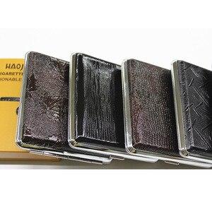 Image 3 - עור קופסא סיגריות אישית Creative 20 מקלות עם גומייה אריזת מתנה חום מקרה מחזיק מתכת עור מחזיק סיגריות