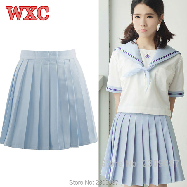 7f5f66a89140 Lolita High Waist Pleated Skirts Women Japanese Blue Mini Skirt School Girls  Student Uniform Skirts Harajuku Summer Clothes WXC