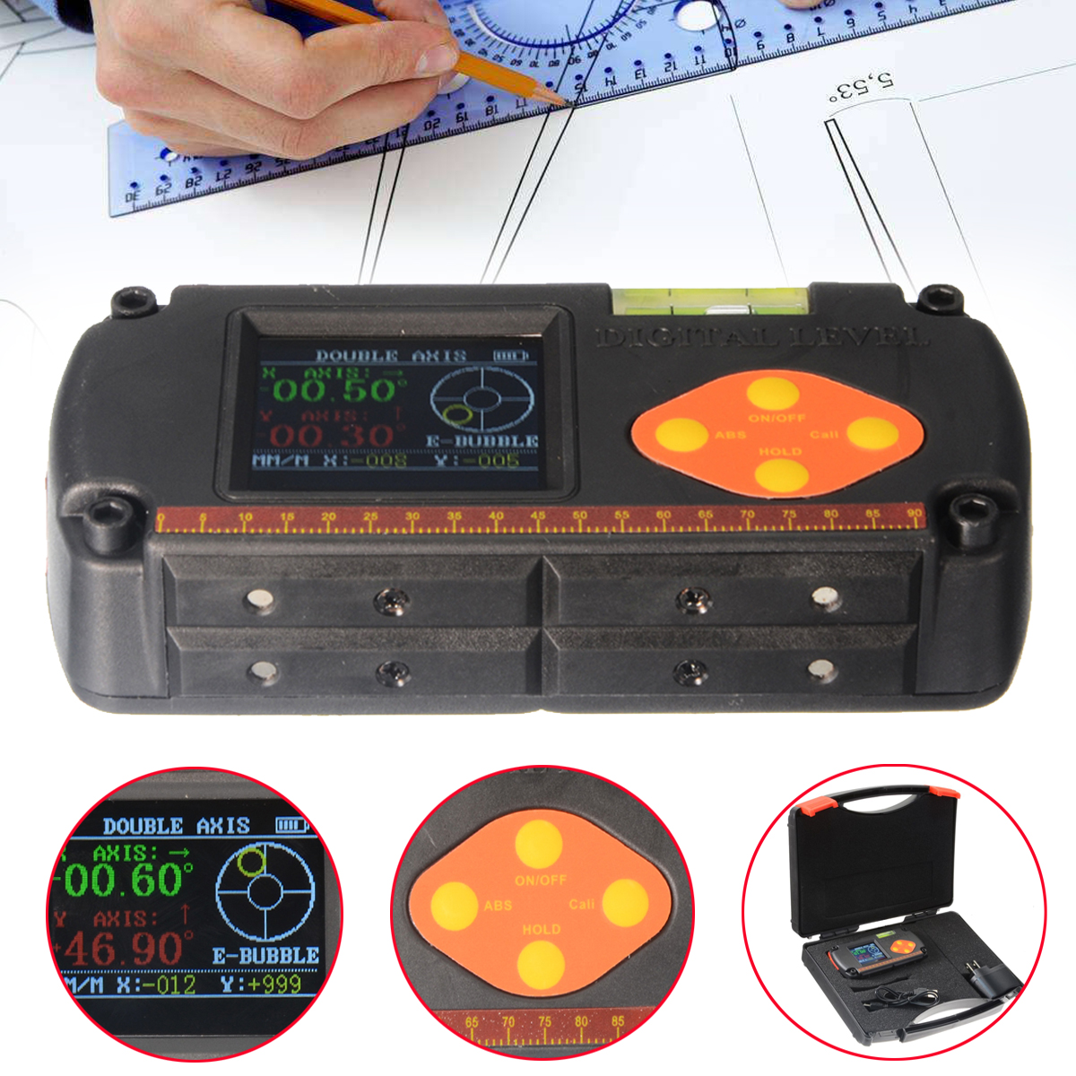 Digital Protractor Inclinometer Dual Axis Level Measure Box Angle Finder Gauge Ruler Elevation Meter DAX Digital Level