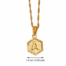 Anniyo A-Z Letters Gold Color Charm Pendant Necklaces for Women/Girls,English Initial Alphabet Jewelry Gifts #114006