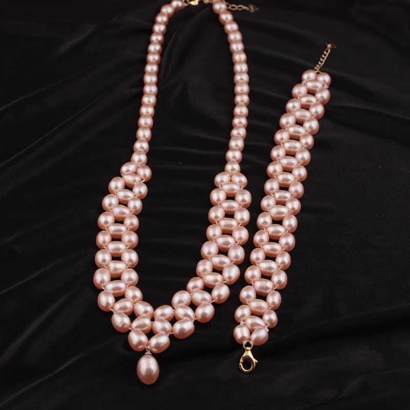 [Meibapj] nova moda rosa natural conjuntos de jóias pérola de água doce 925 prata esterlina fina jóias de casamento para as mulheres