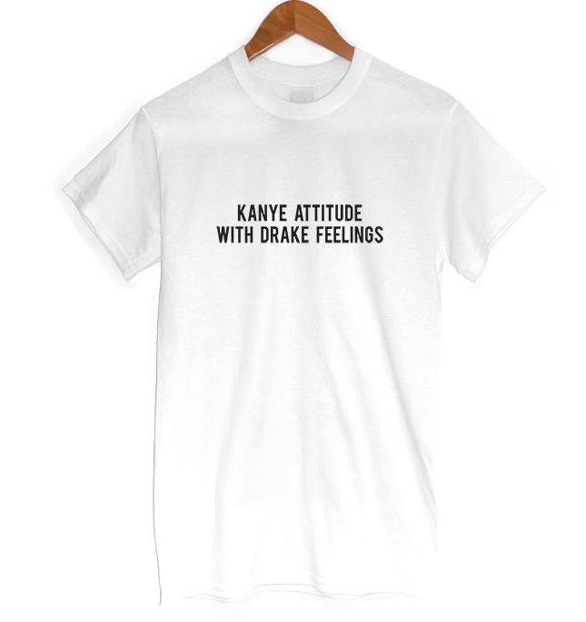 ATTITUDE WITH FEELINGS Print Women T shirt Casual Cotton Hipster For Funny Top Tee Black White Gray B-2 2