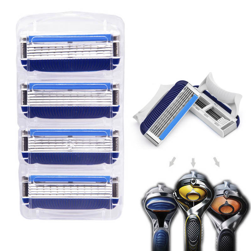 4pcs/lot Razor Blade For Men Face Care Shaving Safety Shaver Blades rasoir Comfortable Replace For Gilett Fusione Power.