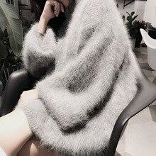 Новинка, женский свитер из натурального норкового кашемира, длинные кашемировые пуловеры, вязаная норковая куртка, M1016