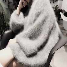 New genuine mink cashmere sweater women long cashmere pullovers knitted pure mink jacket  thickr free shippingM1016