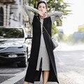 INU061 Новое Прибытие Осень 2016 женщины без рукавов верхней одежды моды случайные свободные длинные макси шерсть жилет черный