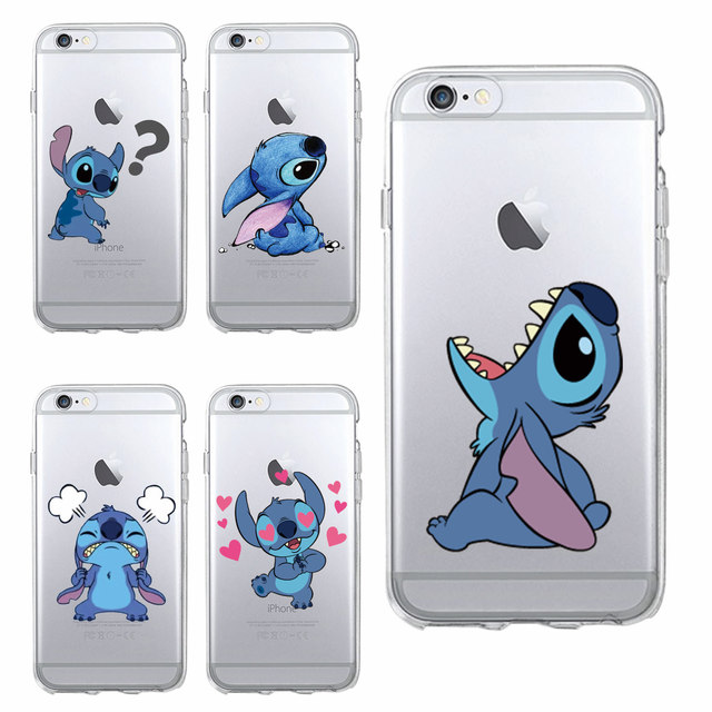 buy popular 133af 3be45 US $1.49 25% OFF|Funny Cute Stitch Cartoon Emoji Soft TPU Clear Phone Case  Fundas Coque For iPhone 6 6S 7 7Plus 8 8Plus X 5S XS Max SAMSUNG-in Fitted  ...