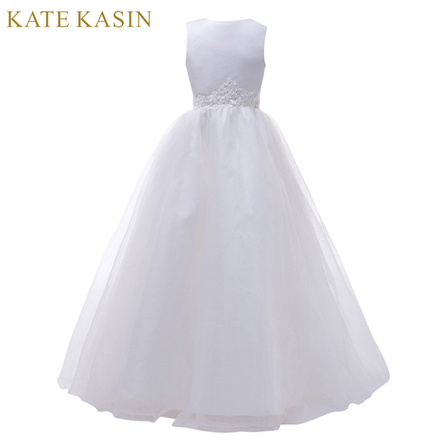 Aliexpress buy long white flower girl dresses for weddings long white flower girl dresses for weddings pageant party ball gown birthday first communion dresses for mightylinksfo